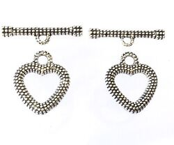 2 Set Of Fancy Decor Antique Silver Heart Shape Toggle Clasps jewelry Findings $4.54