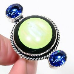 Mother Of Pearl Black Onyx Sapphire Gemstone Jewelry Ring Size 7 KR-6918