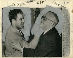 1953 Press Photo Boxing champion Rocky Marciano demonstrates knock out punch $14.99