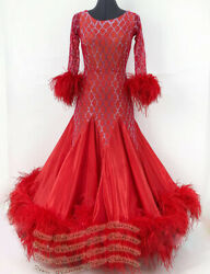 ** for chen-olivi** custom made measure # B8126 dance Dress Ostrich feather  red