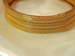 Classy XX Nice Vintage 1960's Gold Tone Hinged Bracelet With Safety Chain 736jl9 $21.99