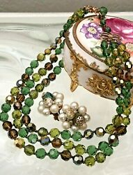 GORGEOUS VTG HIGH END AB GREEN GLASS BEAD NECKLACE-FAUX PEARL AB EARRINGS LOT