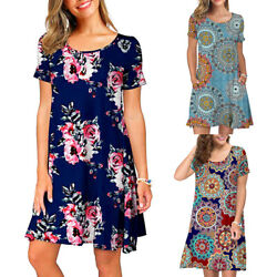 Women Summer Short Sleeve Beach Floral Boho Loose Holiday Dresses Pockets Dress $9.28