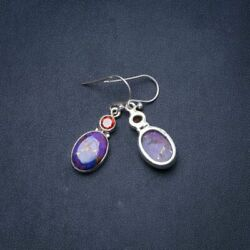 Copper Turquoise and Garnet 925 Sterling Silver Earrings 1.25