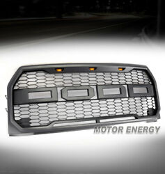 HONEYCOMB MESH GRAY GRILLE GRILL WAMBER LED LAMP FOR 15 16 17 F-150 F150 PICKUP