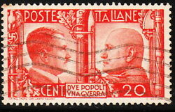 Stamp Italy SC 414 WWII War Socialist Fascist Adolf Mussolini Axis Used $5.80