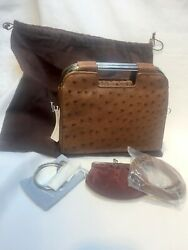 JUDITH LEIBER LIGHT BROWN OSTRICH HANDBAG - NEW WTAG -RARE- PART OF COLLECTION