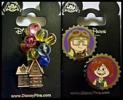 Disney Parks 3 Pin lot UP House with balloons + Carl & Ellie kids caps