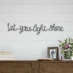 Let Your Light Shine Cursive Metal Cutout Sign Rustic Decor Wall Hanging 31 In $16.99
