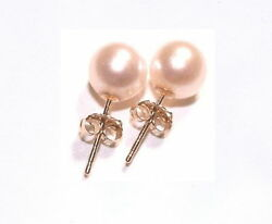 6mm 8mm 10mm 12mm 14mm PINK Shell Pearl Stud Earrings 14K Solid Yellow Gold Post
