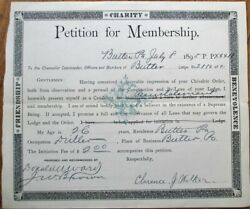 Knights of Pythias 1895 Petition for Membership Certificate - Butler PA Penn