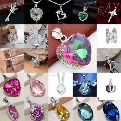 Fashion 925 Silver Sapphire Rubby Pendant For Necklace Earring Jewelry C $2.03