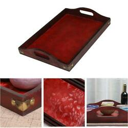 Retro Serving Wooden Tray With Handles Breakfast Dinner Tray For Party