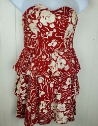 Vtg Hawaiian Dress Young Hawaii for Liberty House Red Floral Print Strapless $34.99