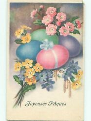 foreign Pre-1980 Easter COLORFUL EGGS AND FLOWERS AC6759