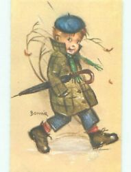 foreign Pre-1980 signed BOY CARRYING HIS UMBRELLA AC6817