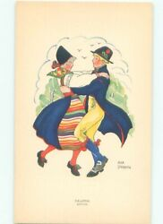 foreign Pre-1980 signed GIRL AND BOY DANCING AC6785