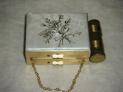 Vintage Zell Fifth Avenue Makeup Powder Compact Gold Case  Lipstick FLOWERS