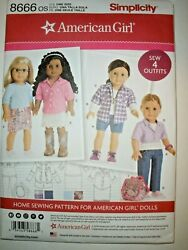 New Simplicity Pattern 8666 American Girl 18