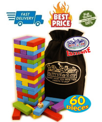 60pc Large Colorful Wooden Tumble Tower Deluxe Stacking Game with Storage Bag
