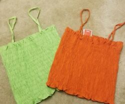 Womens Target Mossimo lot 2 Smocked Crop Tops Orange Green One Size $9.99