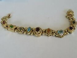 VINTAGE 14K YELLOW GOLD SLIDE BRACELET GARNET-RUBY-SAPPHIRE-EMERALD 11 SLIDES