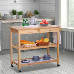 3-Tier Wooden Kitchen Trolley Cart Rolling Island Serving Cart wDrawers