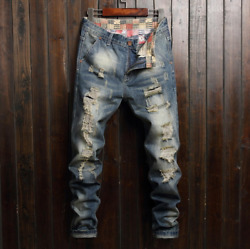 Men Stretch Ripped Skinny Jeans Distressed Frayed Slim Fit Biker Pants Trousers $27.99