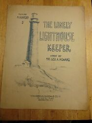 Original 1912 Sheet Music  - The Lonely Lighthouse Keeper  Mrs. George A. Howard