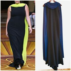 NEW CHRISTIAN SIRIANO Black Navy Blue Scarf Chiffon Drape Crepe Runway Gown 2 XS