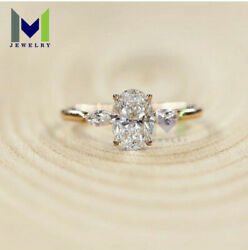 1.20Ct Genuine Oval Cut Diamond Promise Engagement Ring In 14k Yellow Real Gold
