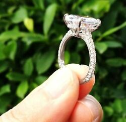 Certified 3.19Ct Oval Cut Diamond Prong Halo Engagement Ring 14K White Gold Over