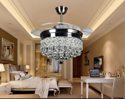 42quot; Silver Crystal Ceiling Fan Chandelier w Led Light Remote Retractable Blades $178.72