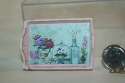 Miniature Dollhouse Lightly Distressed Wood Flowers & Glass Serving Tray 1:12 NR