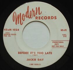 Rare Northern Soul JACKIE DAY Before It's Too Late VG+ MODERN WL Promo 45 HEAR