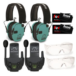 Walker's Razor Electronic Muffs Light Teal 2 Pack Walkie Talkies amp; Glasses $174.95