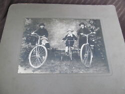 Old Bicycles Antique Photograph Tricycle~Siblings Grumpy Boy wStraw Hat