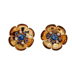Retro 14K Rose Gold Sapphire Diamond Pierced Clip Earrings
