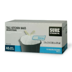Sure Strength 13 gal. Tall Kitchen Bags Drawstring 40 pk $17.45