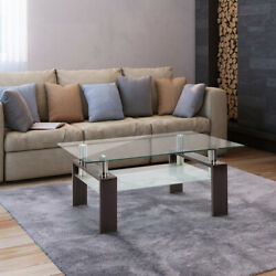 Rectangle Glass CoffeeTable Modern Living Room Side Center Clear Table Furniture $99.36
