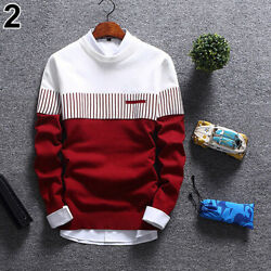 Mens Casual Strip Color Block Knitwear Jumper Pullover Autumn Sweater