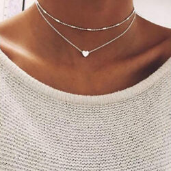 1 Pcs Women Crystal Multi-Layer Choker Collar Pendant Chain Necklace Jewelry US