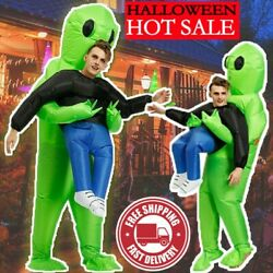 Scary Halloween Costume Green Alien Monster Inflatable Blow Up Suits Party Dress