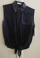 EQUIPMENT Femme Diem Tie Front Silk Top Shirt Blouse Denim Dark Blue XS NWT