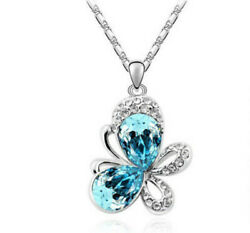 European fashion Sky blue crystal Silver butterfly Pendant Necklace jewelry