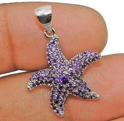Amethyst 925 Solid Genuine Sterling Silver Star Fish Pendant Jewelry