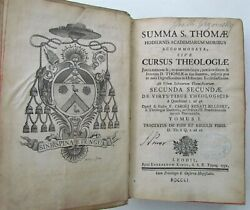 1751 VELLUM BOUND SUMMA S. THOMAE CURSUS THEOLOGICAE Vol. 1 antique in LATIN $199.99