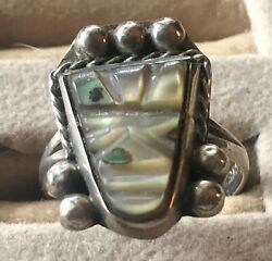 Sterling Silver & Abalone  RING Size 5 Marked Mexico