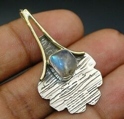 Two Tone- Natural Rainbow Moonstone 925 Sterling Silver Pendant Jewelry C27-9