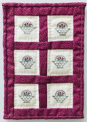 Mini Dollhouse Bed Wall Quilt Hand Stenciled Baskets Signed 5 5 8 x 3 7 8quot; 1989 $14.99